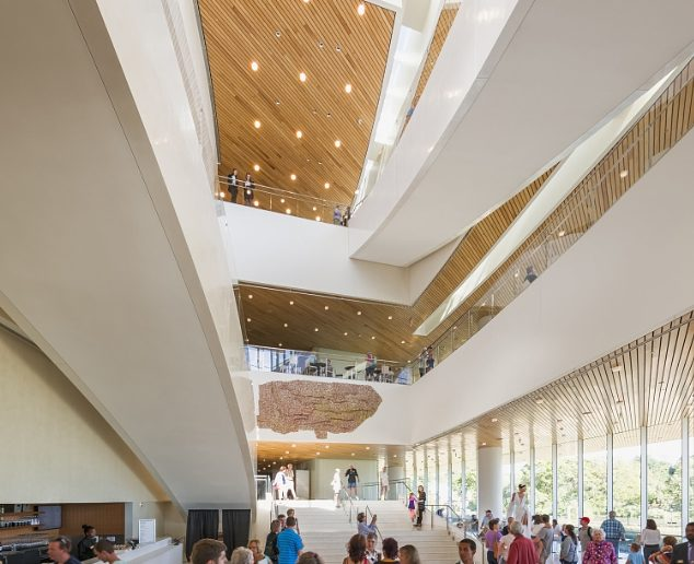 Lobby, Hancher Auditorium, University of Iowa, photo by Jeff Goldberg/Esto (PRNewsFoto/Pelli Clarke Pelli Architects)